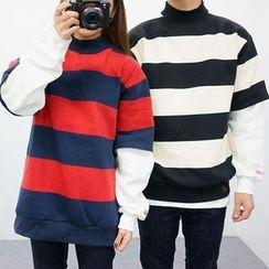 Seoul Homme - Color-Block Mock-Neck T-Shirt