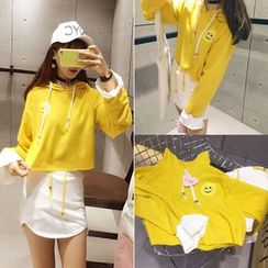 CHIH - Set: Smiley Face Print Cropped Hoodie + Plain Mini Skirt