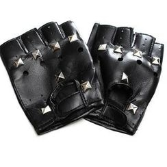 BESTshop - Faux-Leather Studded Gloves
