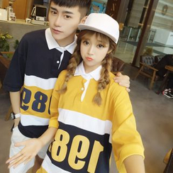 Evolu Fashion - Couple Matching Elbow-Sleeve Numbering Polo Shirt