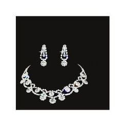 Posh Bride - Bridal Set: Rhinestone Necklace + Earrings