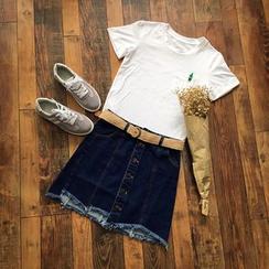 Rosadame - 刺绣短袖T恤