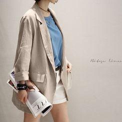 NANING9 - Linen Roll-Up Blazer