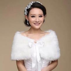 Bridal Workshop - Faux-Fur Bow-Accent Cape