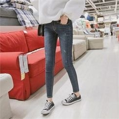 TOM & RABBIT - Washed Brushed-Fleece Lined Skinny Jeans