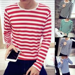 RIVOLO - Long-Sleeve Striped T-Shirt