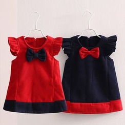 Seashells Kids - Kids Bow-accent Frill Sleeve Dress