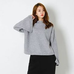 FASHION DIVA - Mock-Neck Slit-Cuff Brushed-Fleece Top