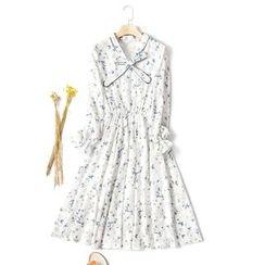 Sens Collection - Floral Print Long-Sleeve Chiffon Dress