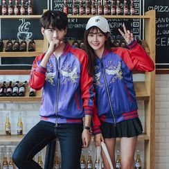 TOOI - Couple Matching Crane Embroidered Satin Bomber Jacket