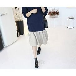MARSHMALLOW - Ruffled-Hem Midi Dress
