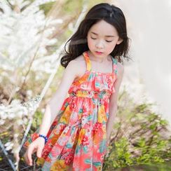 Cuckoo - Kids Floral Print Sleeveless Tiered Dress