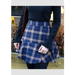 DEEPNY - Wool Blend Plaid Mini Skirt