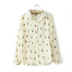 JVL - Owl-Print Chiffon Shirt