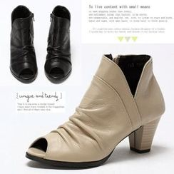 MODELSIS - Genuine Leather Open-Toe Pleated Ankle Boots
