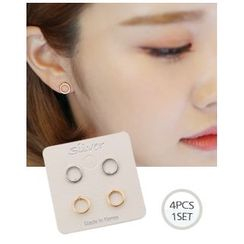 Miss21 Korea - Set of 2: Hoop Stud Earrings (4 pcs)
