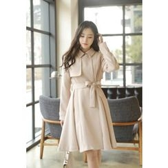 MyFiona - A-Line Trench Dress with Sash