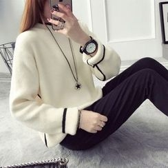 Qimi - Piped Mock-neck Knit Top