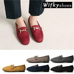 Wifky - Metal-Trim Faux-Suede Loafers