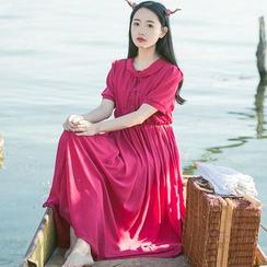 Sens Collection - Plain Short Sleeve Maxi Dress