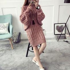 Qimi - 羅紋高領粗針織連衣裙