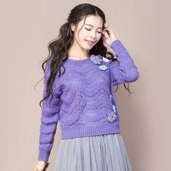 ENKA - Flower Accent Open Knit Sweater