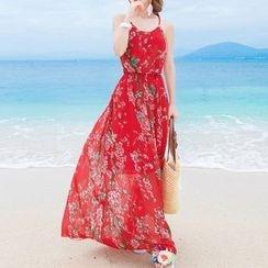 Isadora - Floral Print Open Back Maxi Chiffon Dress