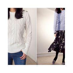 MASoeur - Button-Shoulder Cable-Knit Sweater