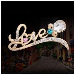 KINNO - Rhinestone 'Love' Brooch