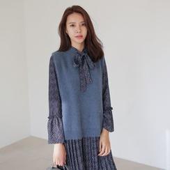 WITH IPUN - Dip Back Knit Vest