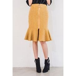 migunstyle - Ruffle-Hem Patterned Skirt