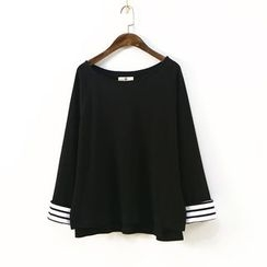 Ranche - Striped Cuff Long-Sleeve T-Shirt