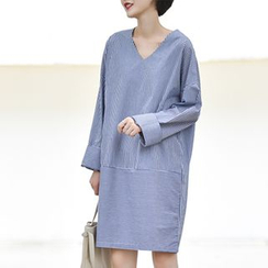 Ranche - Striped V-Neck Shirtdress