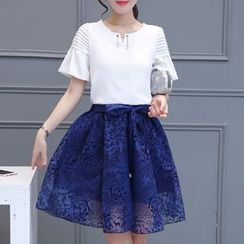 Cobogarden - Set: Frill Trim Short Sleeve Top + Faux Pearl Tie Waist Mini Skirt