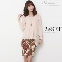 Stylementor - Set: Shirred Chiffon Top + Paisley-Patterned Skirt