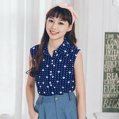 东京著衣 - 无袖印花衬衫