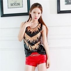 clubber - Patterned Sleeveless T-Shirt