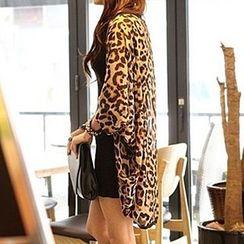 Rocho - Leopard Print Chiffon Jacket