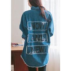 REDOPIN - Distressed-Trim Lettering Denim Shirt