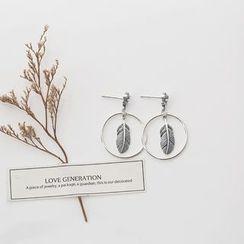 Love Generation - Feather Hoop Sterling Silver Earrings