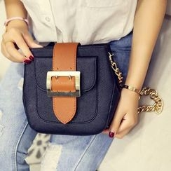 Secret Garden - Color-Block Buckle Shoulder Bag