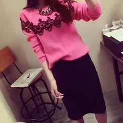 Shomez - Set: Lace Panel Long-Sleeve Knit Top  + Skirt
