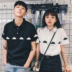 Nibeika - Couple Matching Cloud Print Short Sleeve Shirt
