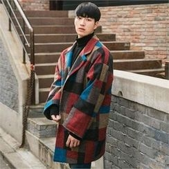 STYLEMAN - Wool Blend Single-Breasted Color-Block Coat