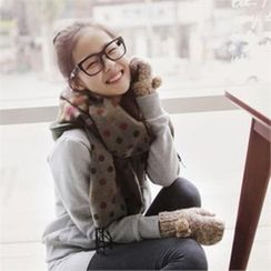 GOROKE - Polka-Dot Color-Block Scarf