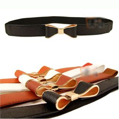 Goldenrod - Bow Accent Slim Elastic Belt