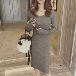 ANTEM - Plain Long Sleeve Midi Knit Dress