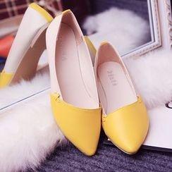 Chryse - 拼色尖頭平跟鞋