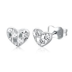 MaBelle - 14K/585 White Gold Dainty Heart Earrings