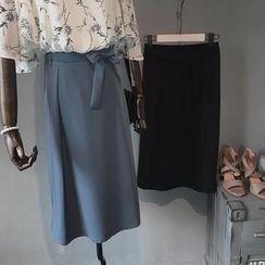 Coolvibe - Tie-Waist Long Chiffon Skirt